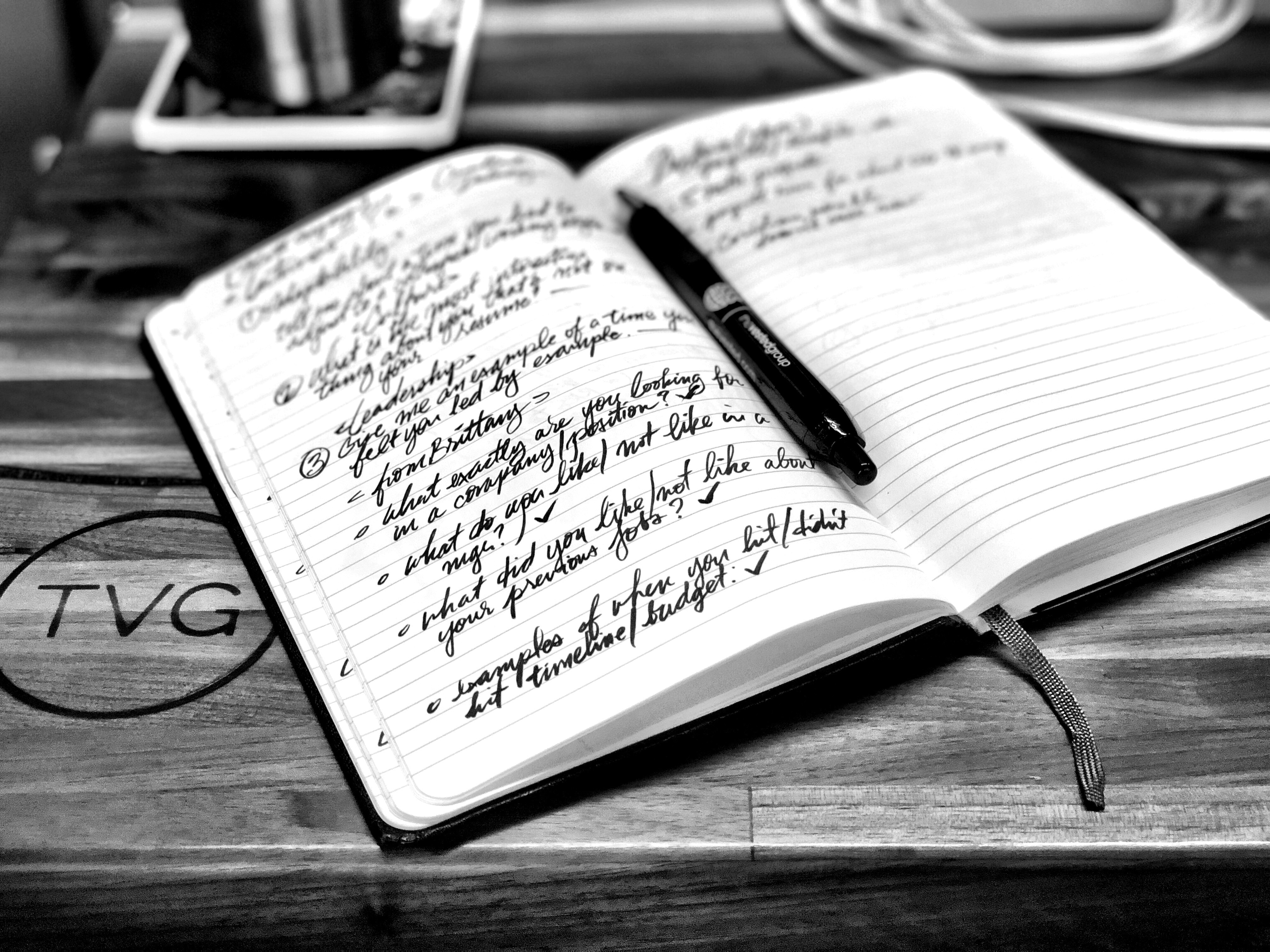 Notepad with writing B&W